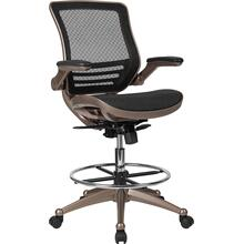 Mid-Back Transparent Black Mesh Drafting Chair with Melrose Gold Frame and Flip-Up Arms [BL-LB-8801X-D-BLK-GG]