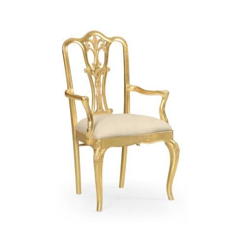 Gilded 18th century style dining chair (Arm)