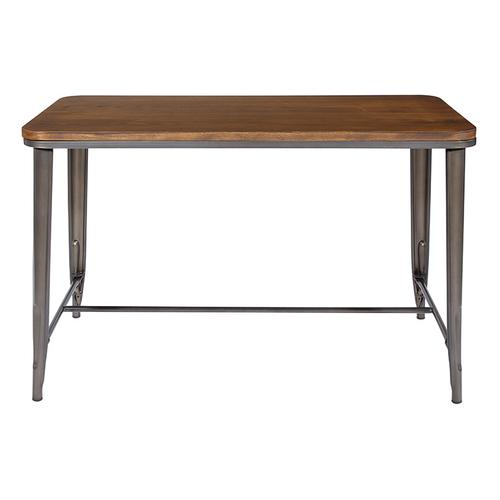 "30"" Matte Gunmetal Grey Rectangle Dining Table With Ash Wood Top"