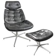 Product Image - WESTPORT CHAIR AND OTTOMAN- SET  Distressed Gray Faux Leather with Stainless Finish on Metal Swivel