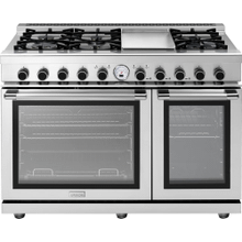 """See Details - Range NEXT 48"""" Panorama Stainless steel 6 gas, griddle and 2 electric ovens, self-clean"""