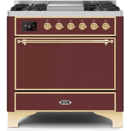 Gallery - Majestic II 36 Inch Dual Fuel Natural Gas Freestanding Range in Burgundy with Brass Trim