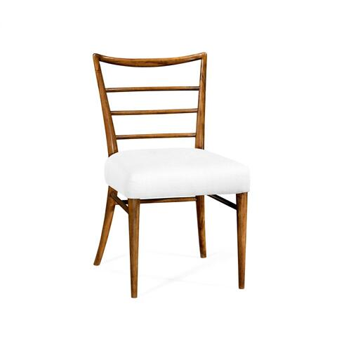 Pensacola Grey Fruitwood Dining Side Chair, Upholstered in COM