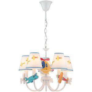 5-lite Ceiling Lamp - Airplane/fabric Shade, E12 B 40wx5