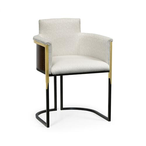 High Back Black Eucalyptus & Brass Tub Dining Chair, Upholstered in COM