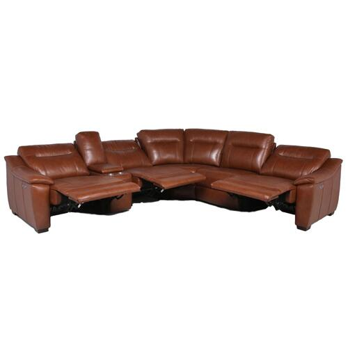 Casa 6-Piece Leather Dual-Power Reclining Sectional, Coach
