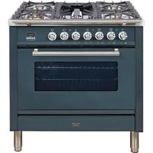 Professional Plus 36 Inch Gas Natural Gas Freestanding Range in Blue Grey with Chrome Trim