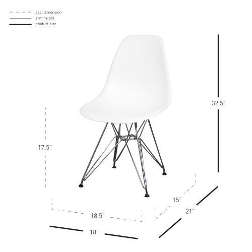 Allen Molded PP Chair Chrome Wire Legs, White