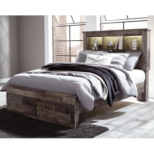 Derekson Full Panel Bookcase Bed With 2 Storage Drawers