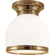 Visual Comfort CHC4132AB-WG E. F. Chapman Edwardian 1 Light 10 inch Antique-Burnished Brass Flush Mount Ceiling Light in White Glass, Open Bottom