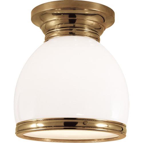 Visual Comfort CHC4132AB-WG E. F. Chapman Edwardian 1 Light 10 inch Antique-Burnished Brass Flush Mount Ceiling Light in White Glass, Open Bottom