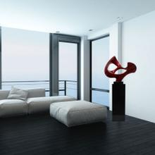 View Product - Abstract Mask Floor Sculpture In Metallic Red // Black Base