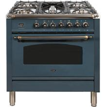 View Product - Nostalgie 36 Inch Dual Fuel Natural Gas Freestanding Range in Blue Grey with Bronze Trim