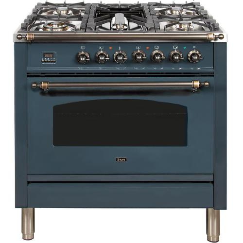 Ilve - Nostalgie 36 Inch Dual Fuel Natural Gas Freestanding Range in Blue Grey with Bronze Trim