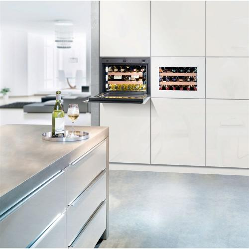 Integrated Wine Cabinet 18 Bottle Single Zone White Pull Down Door