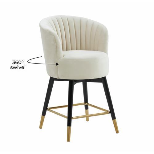Tov Furniture - Liana Cream Velvet Swivel Stool