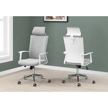 OFFICE CHAIR - WHITE / GREY FABRIC / HIGH BACK EXECUTIVE
