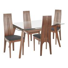 See Details - Aspen 5-piece Dining Set - Walnut Wood, Clear Glass, Charcoal Fabric