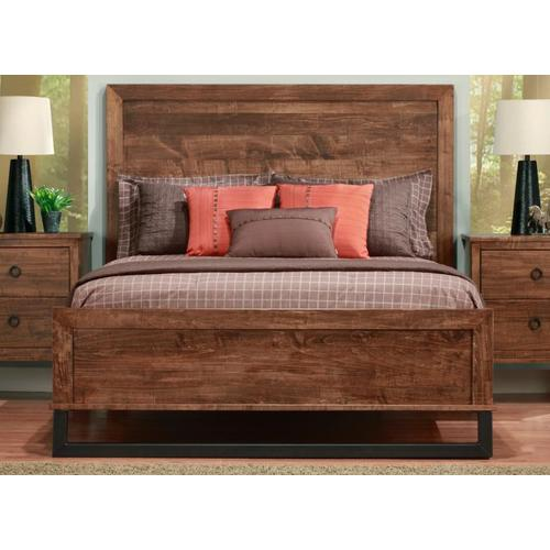 """Handstone - Cumberland Double Bed With Wood Headboard & 22"""" Low Footboard"""