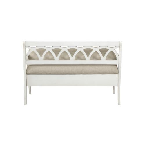 48-inch Lift Top and Upholstery Seat Storage Bench, White and Grey