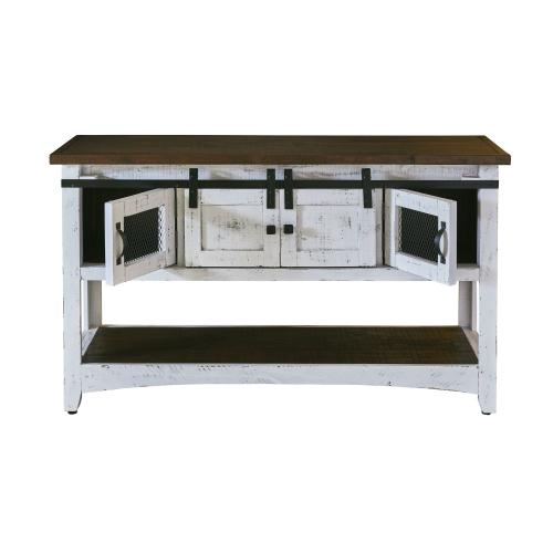 Thomas Console Table White w/ Brown Top