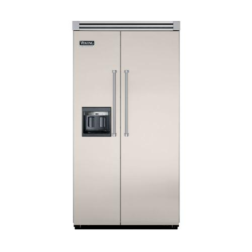 """Viking - Oyster Gray 42"""" Side-by-Side Refrigerator/Freezer with Dispenser - VISB (Integrated Installation)"""