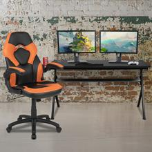 Gaming Desk and Orange\/Black Racing Chair Set \/Cup Holder\/Headphone Hook\/Removable Mouse Pad Top - 2 Wire Management Holes
