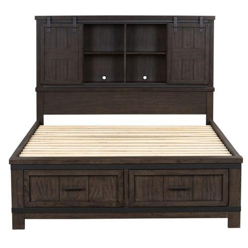 Liberty Furniture Industries - King Bookcase Bed, Dresser & Mirror, Chest, Night Stand