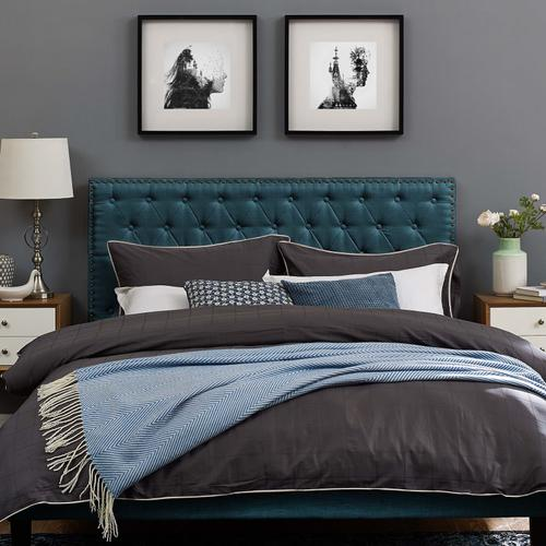 Modway - Helena Tufted Full / Queen Upholstered Linen Fabric Headboard in Azure