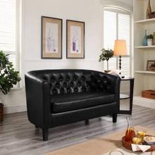Prospect Upholstered Vinyl Loveseat in Black