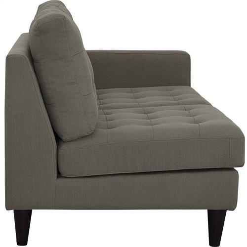 Empress Right-Facing Upholstered Fabric Loveseat in Granite
