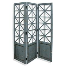 Distressed Blue  72in x 57in Geometric Wood Floor Screen with Metal Hardware