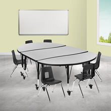 """Mobile 76"""" Oval Wave Collaborative Laminate Activity Table Set with 12"""" Student Stack Chairs, Grey\/Black"""