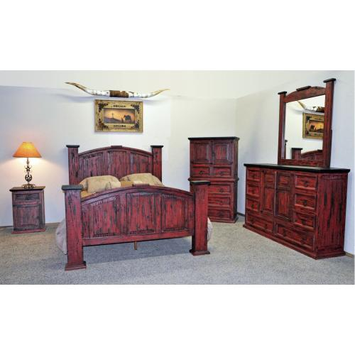 Red Scraped Mansion Bedroom Group