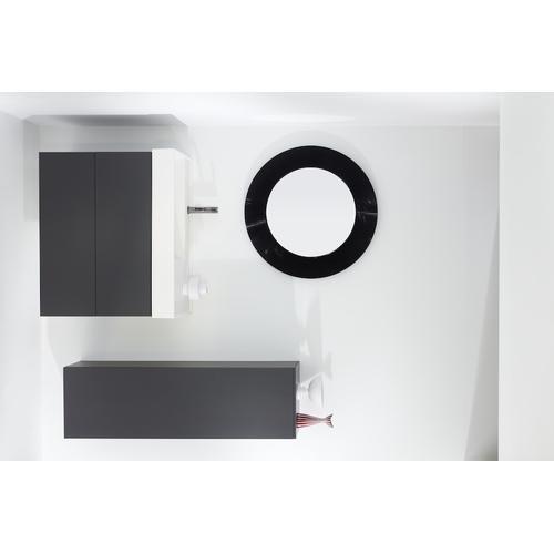 Ochre Brown Tall cabinet with 1 door, door hinge left, 4 glass shelves
