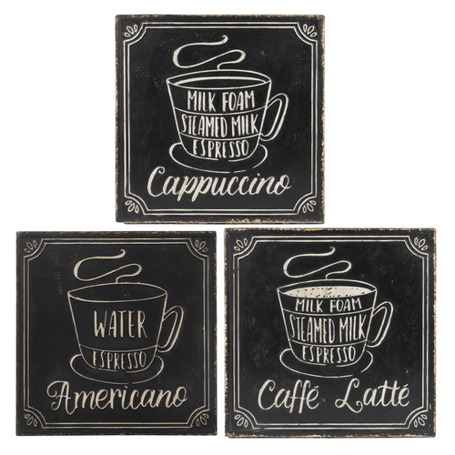Antique Black & White Embossed Coffee Wall Decor (3 pc. ppk.)