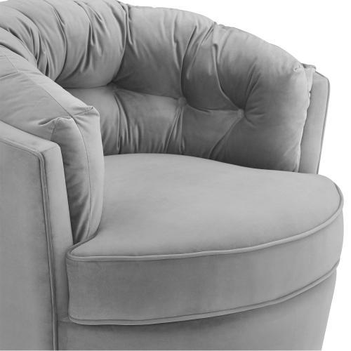 Eloise Grey Velvet Swivel Chair
