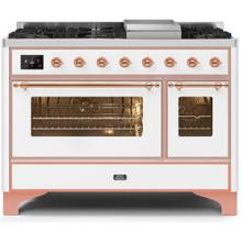 Majestic II 48 Inch Dual Fuel Natural Gas Freestanding Range in White with Copper Trim