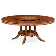"Burl & mother of pearl round 70 3/4"" dining table"