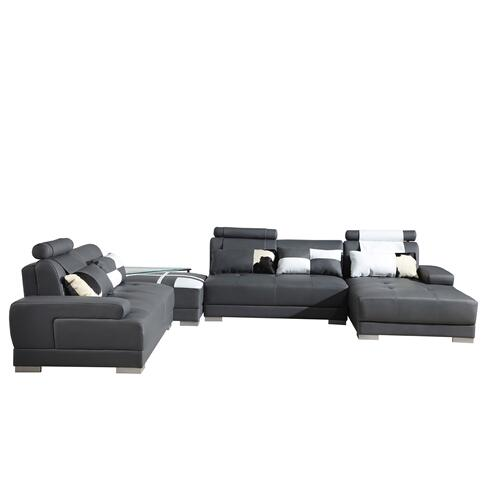 Divani Casa Phantom - Modern Grey Bonded Leather Sectional Sofa w Ottoman and Glass End Table
