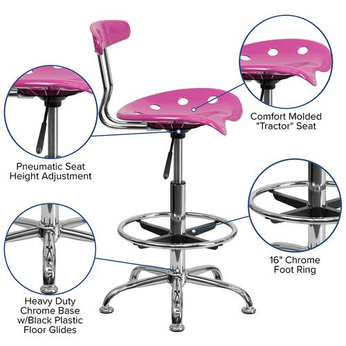 Flash Furniture - Vibrant Candy Heart and Chrome Drafting Stool with Tractor Seat