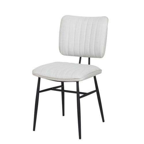 Accentrics Home - Upholstered Channel Back Dining Chair in Natural White