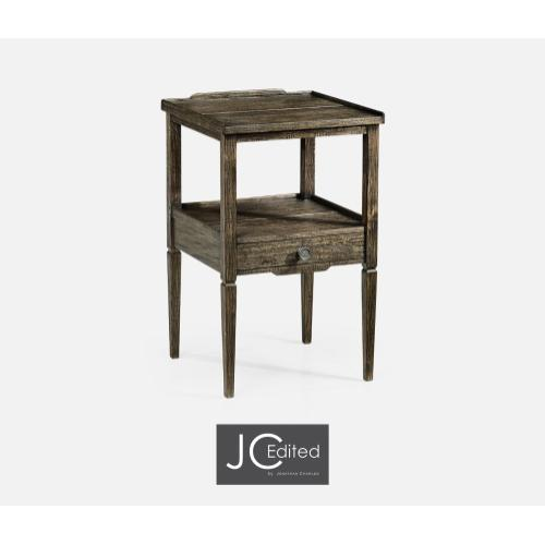 Dark Driftwood Square Lamp Table with Drawer