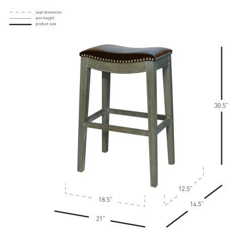 Product Image - Elmo Bonded Leather Bar Stool Mystique Gray Frame, Brown