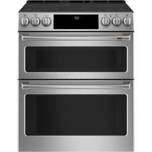 "Cafe AppliancesCaf(eback) 30"" Smart Slide-In, Front-Control, Radiant and Convection Double-Oven Range"