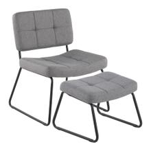 See Details - Stout Lounge Chair + Ottoman - Black Steel, Grey Fabric