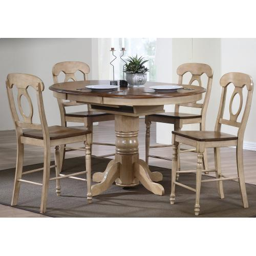 Round or Oval Butterfuly Leaf Pub Table Set w/Napoleon Stools (5 piece)