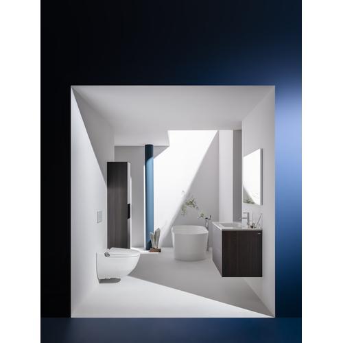 Traffic Grey Tall cabinet, 2 doors, door hinge left, 1 open shelf, 2 glass shelves, design matching combipacks