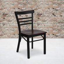 HERCULES Series Black Three-Slat Ladder Back Metal Restaurant Chair - Mahogany Wood Seat