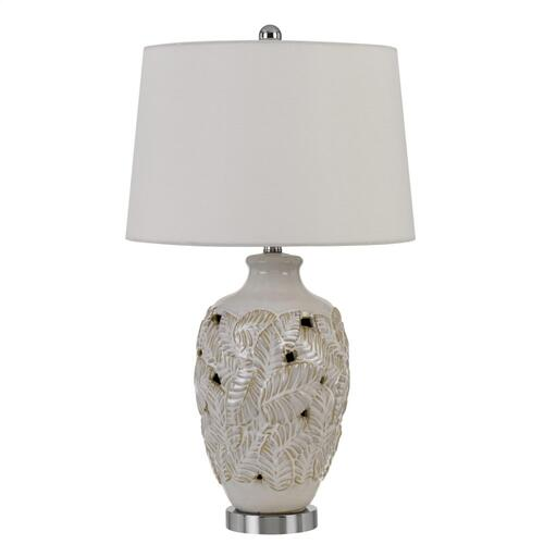 150W Leland Creamic Table Lamp With Leaf Design And Taper Drum Hardback Fabric Shade